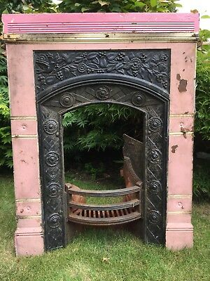"""Painted Fireplace For Restoration : 99cm H x 77cm W (39"""" H x 30""""W) Pink Black"""
