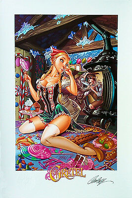 "Hansel & Gretal SIGNED By J SCOTT CAMPBELL Print 13""x19"" Limited Edition 82/250"