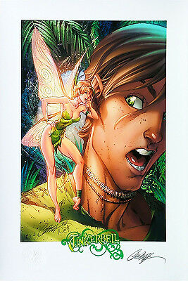 "Tinkerbell SIGNED By J SCOTT CAMPBELL Print 13""x19"" Limited Edition 82/200 New"