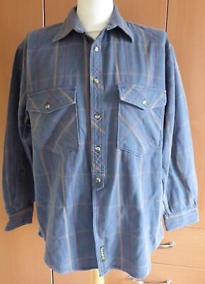 TIMBERLAND Weathergear Vintage Blue Grey Thick Check Plaid Heavy Duty Shirt Lrge
