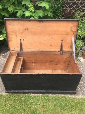 Large Antique Solid Pine Chest Trunk Box Storage Black
