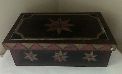 Signed Kathy Graybill Hand Painted Primitives Box - Rectangular w/ Cross Stars