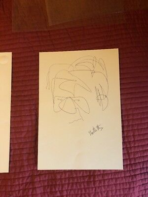 Thornton Utz Hand Signed Drawing Self Portrait Of The Artist