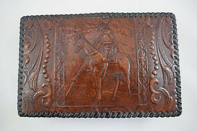 Vintage Leather Card Box Horse Rider Armour Jousting VGC