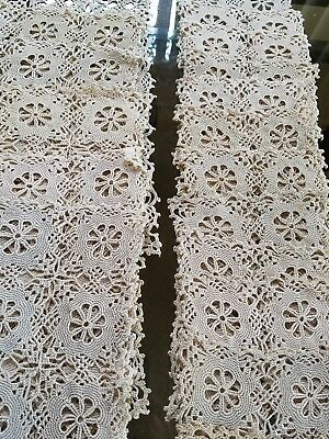 Antique Hand Made Lace Place-mats and Goblet Coasters 24 Piece Set