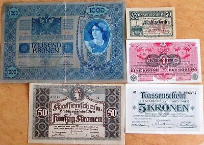 Austria Lot of 5 Notes Used