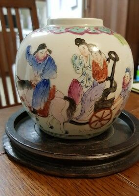Antique 19th Century Chinese Ginger jar famille rose scene: a procession; signed