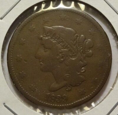 1839 Coronet Large Cent, Fine  ~  Scarce Booby Head Variety