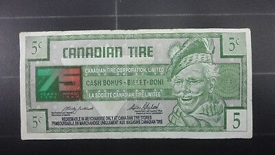 Canadian Tire Money 75th Year 5 Cent Bill Free Shipping