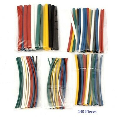 140 Piece Heat Shrink Tubing Kit - 5 Sizes in 7 Colors