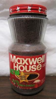 VINTAGE NOS MAXWELL HOUSE INSTANT COFFEE 10oz GLASS JAR METAL LID SEALED