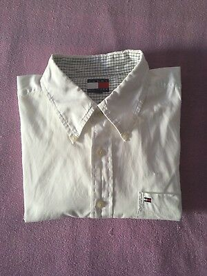 TOMMY HILFIGER Vintage Big Logo Mens XL Oxford Dress Shirt Thick embroided logo