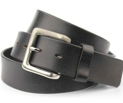 "Black Thick Real Leather Belt 38mm Wide Vintage Retro Fits 40-45"" Waist"