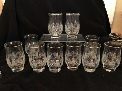 10 Vintage Arby's Libbey Glasses Tumbler White Winter Scene Gold Holiday 1980's