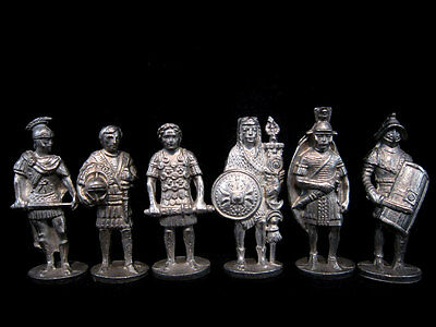 Lot Of 6 Vintage Roman Tin Military Figurines Toys!!!