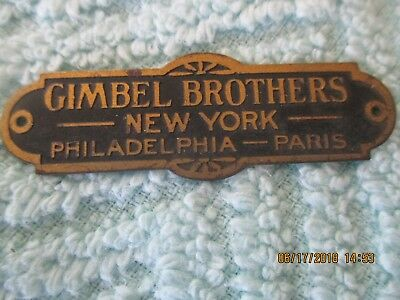 Vintage Gimbel Brothers Metal Label/tag - New York -Philadelphia -Paris