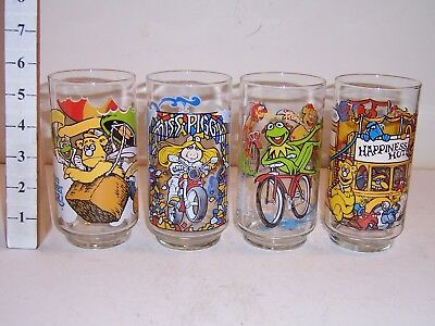 4 Collectible Great Muppet Caper Drinking Glasses 1981 McDonalds Vintage