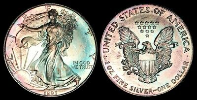 Turquoise Toned 1993 American Silver Eagle Ase 1 Ounce Silver .999 Pure A Beauty