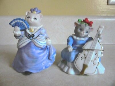 2 schmid cucumber kitty bisque figurines-miss fish, christmas kitty cucumber