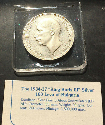 "1934 ""King Boris III""  Silver 100 Leva of Bulgaria Ex Fine to About Uncirculated"