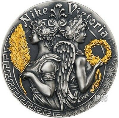 2018 2 Oz Silver $5 VICTORIA AND NIKE Strong and Beautiful Goddesses Coin.