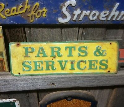 Old vintage John Deere Dealer tractor metal sign gas station garage embossed
