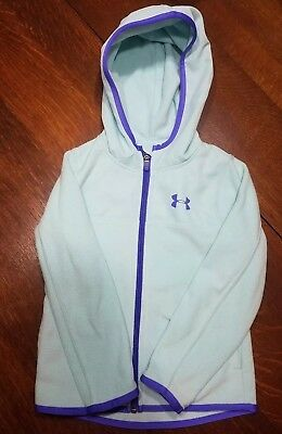 Euc Girls Under Armour Size 4 Zip Up Jacket Teal Blue Purple Fleece Hoodie