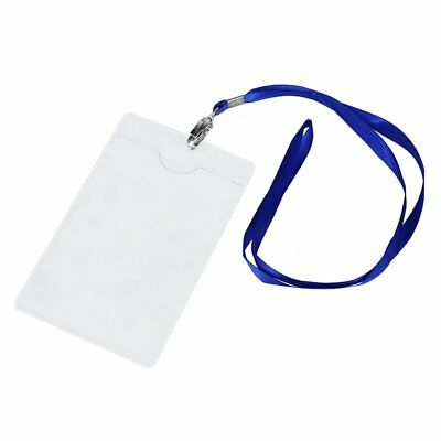 2 Pcs Vertical Clear Plastic ID Badge Card Holder w Lanyard Neck Strap H7A6