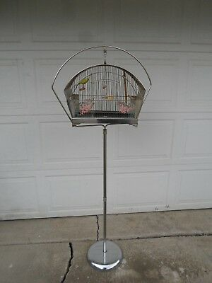 Vintage art deco original Hendryx bird cage with chrome stand & accessories NICE