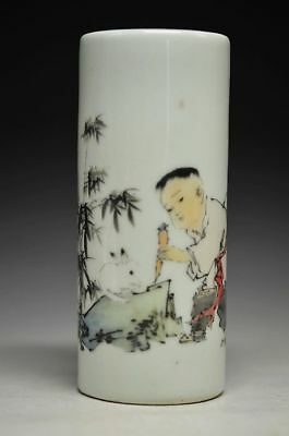 Chinese Rose Porcelain Hand Painting Children Feed Animal Pen Container