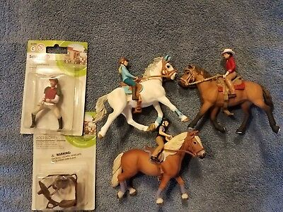 Schleich riding sets lot of three with eventing rider and saddle