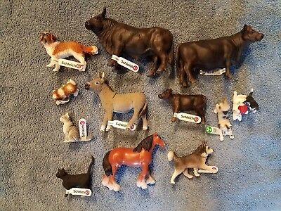 Schleich Farm animal lot of 12, cows, dogs, cats and donkey