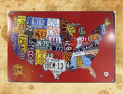 US SELLER-AMERICAN MAP license plate metal poster tin sign home ...