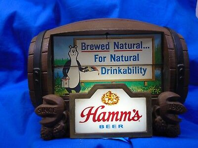 Vintage Hamm's Beer Lighted Motorized Barrel Flip Sign, 8 Rotating Scenes. Very