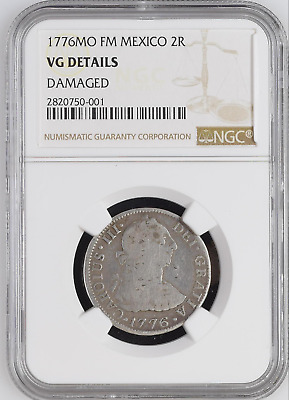 ✔ 1776 FM 2 Reales Mo Mexico City Silver 2R NGC VG Details American Revolution