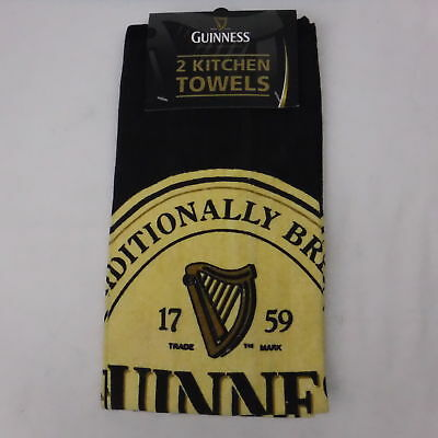 Guinness 2 Kitchen Towels Black/Yellow Harp 1759 St. James Gate Dublin