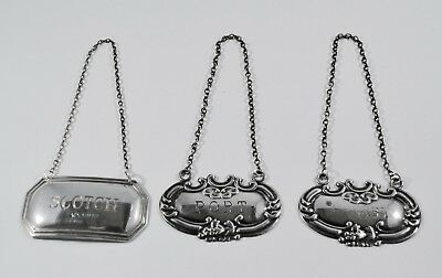 Lot of 3 Vintage/Antique Sterling Silver Decanter Labels Tags Port/Sherry/Scotch