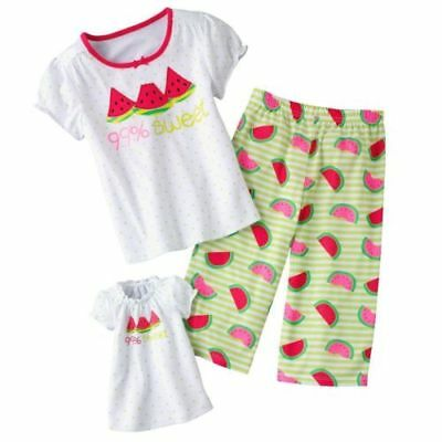 """Watermelon size 6 Matching girl doll nightgown pj's fit american 18 """" Small NEW"""