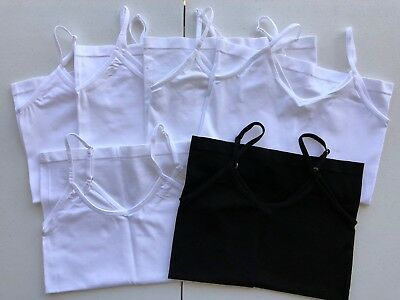 Lot Of 6 Maidenform Supersoft Camisoles Tank Tops Girls Sz Medium White & Black