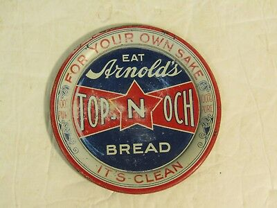 Rare Vintage Arnold's Top N Och Bread Metal Tip Tray Advertising Sign