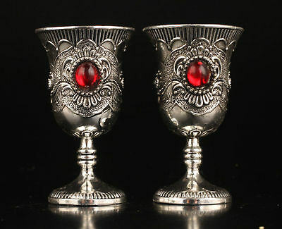 A Pair Delicate Chinese Miao Silver Inlaid Red Beads Handwork Cup