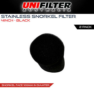 2 x UNIFILTER 4 inch 100mm Stainless Snorkel Pipe Cover Pre cleaner Filter Black