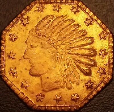 1853 California Gold 1/2. Wide Head 16 Stars. Rare AU gilt token/charm/exonumia.