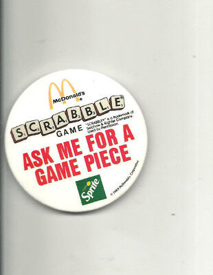 1989 McDONALD'S EMPLOYEE ISSUE SCRABBLE GAME SPRITE UNIFORM PINBACK BUTTON BADGE