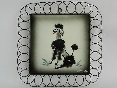 Mid Century Tile Wall Plaque ~ French Poodle ~ Hand Painted