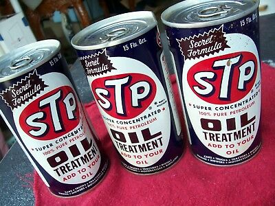 Lot of Three STP Secret Formula Oil Treatment Studebaker Tin Can Full dented ect