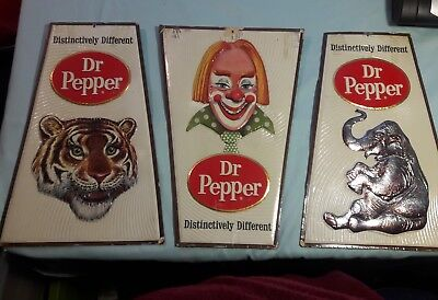 Ultra Rare Dr Pepper Circus Sign Set of 3 - Clown, Tiger & Elephant