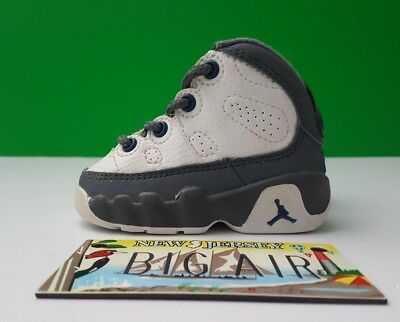 "2002 Baby Air Jordan 9 ""Flints"" White/ French Blue/ Flint grey size 2c crib"