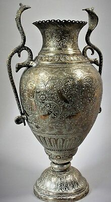 Antique 19th Century hand crafted Indian brass vase cobra snake handles
