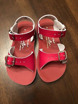 New Hoy Sun San Salt Water Sandals Red Surfer Toddler Girl Size 8